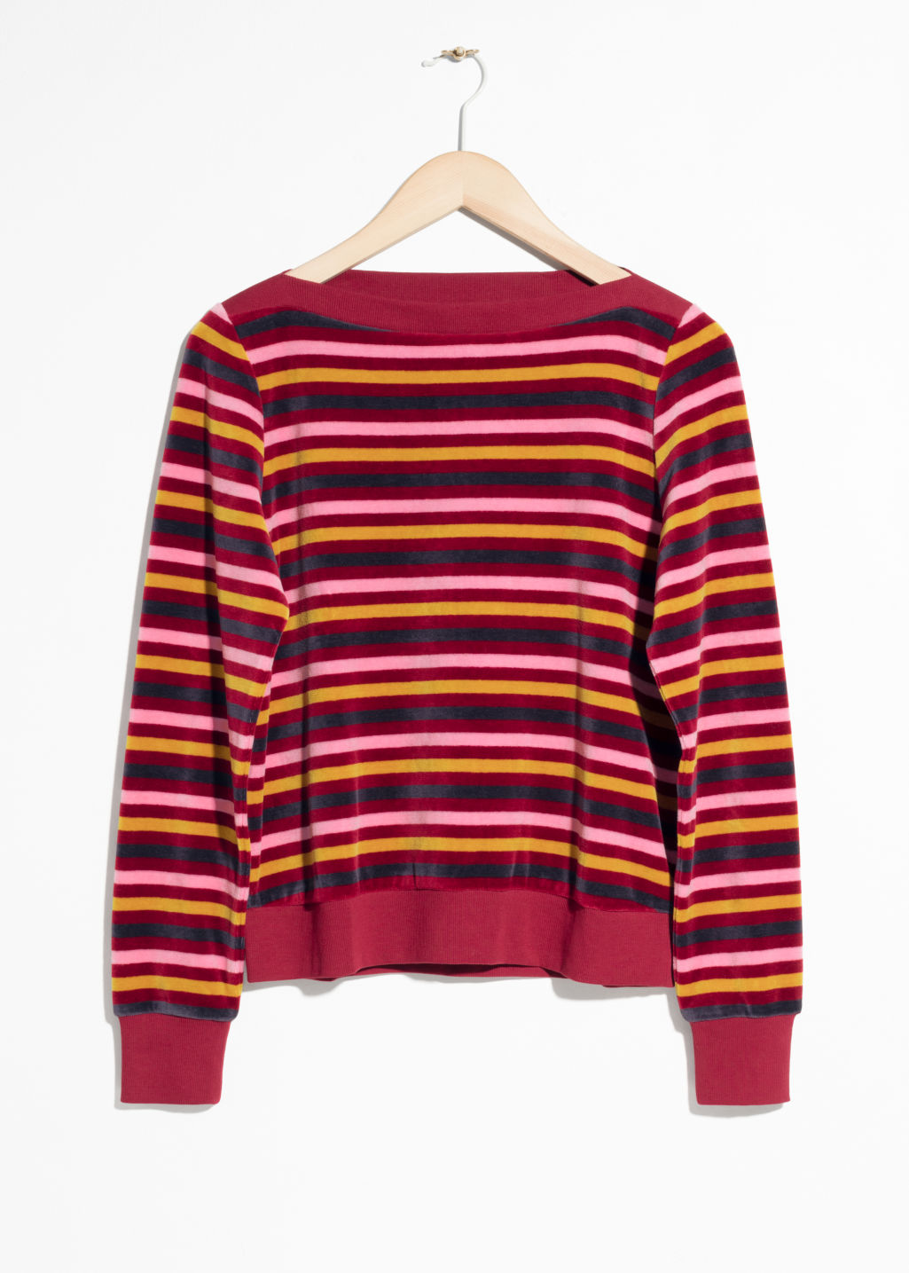 Front image of Stories bateau neck top in red