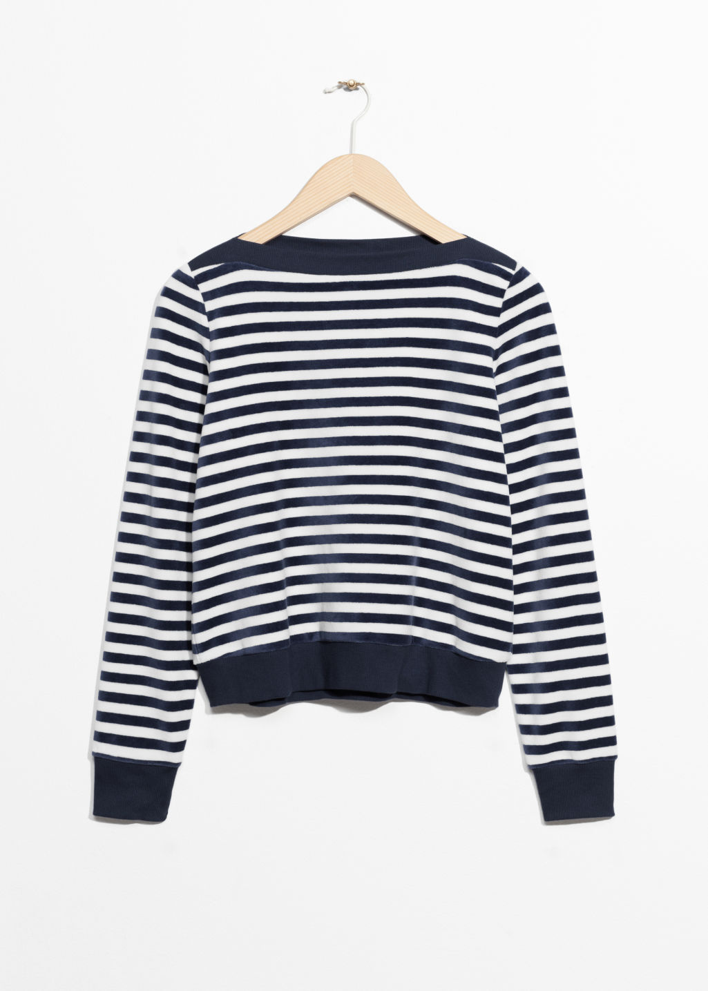 Front image of Stories bateau neck top in blue