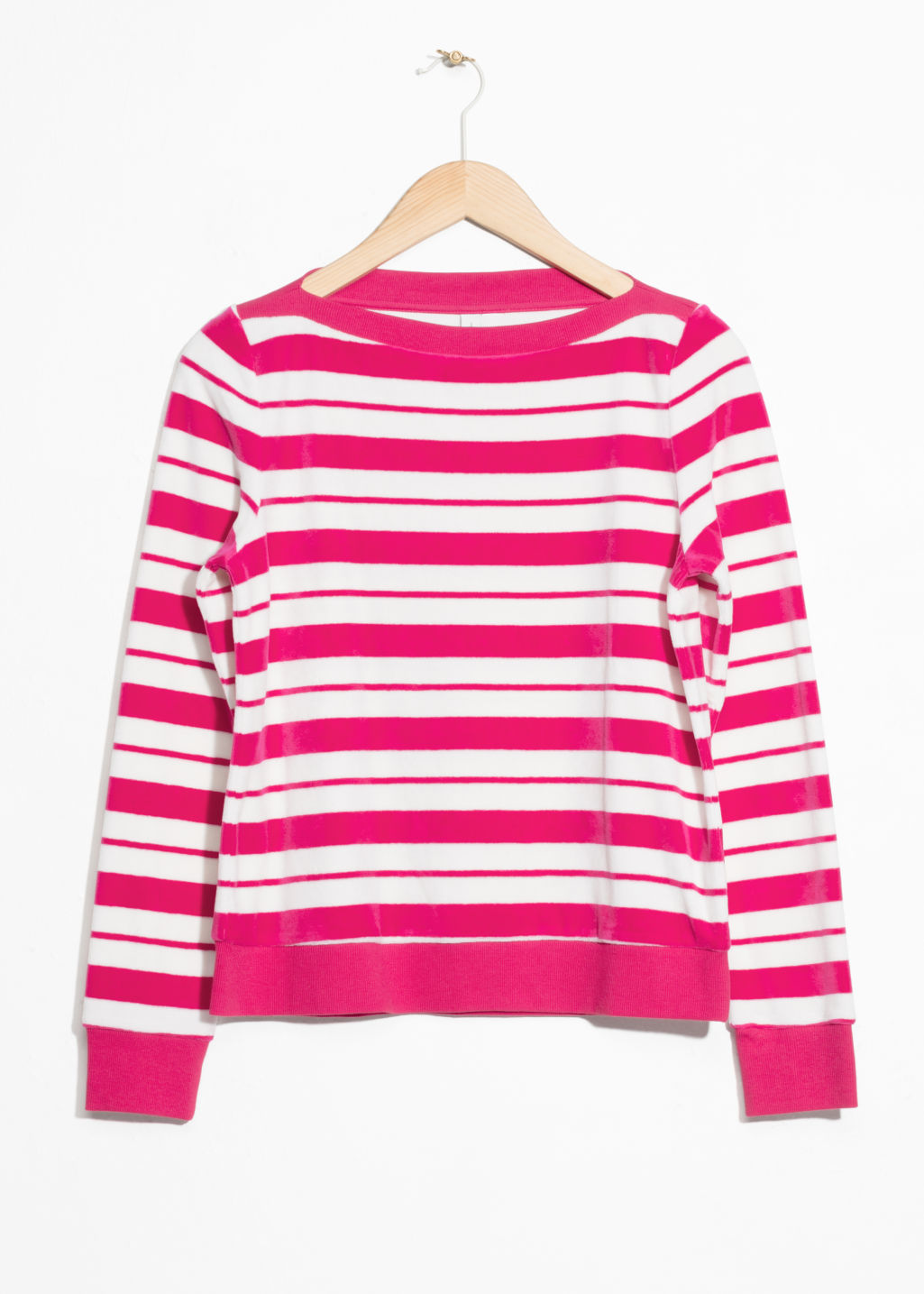 Front image of Stories bateau neck top in pink