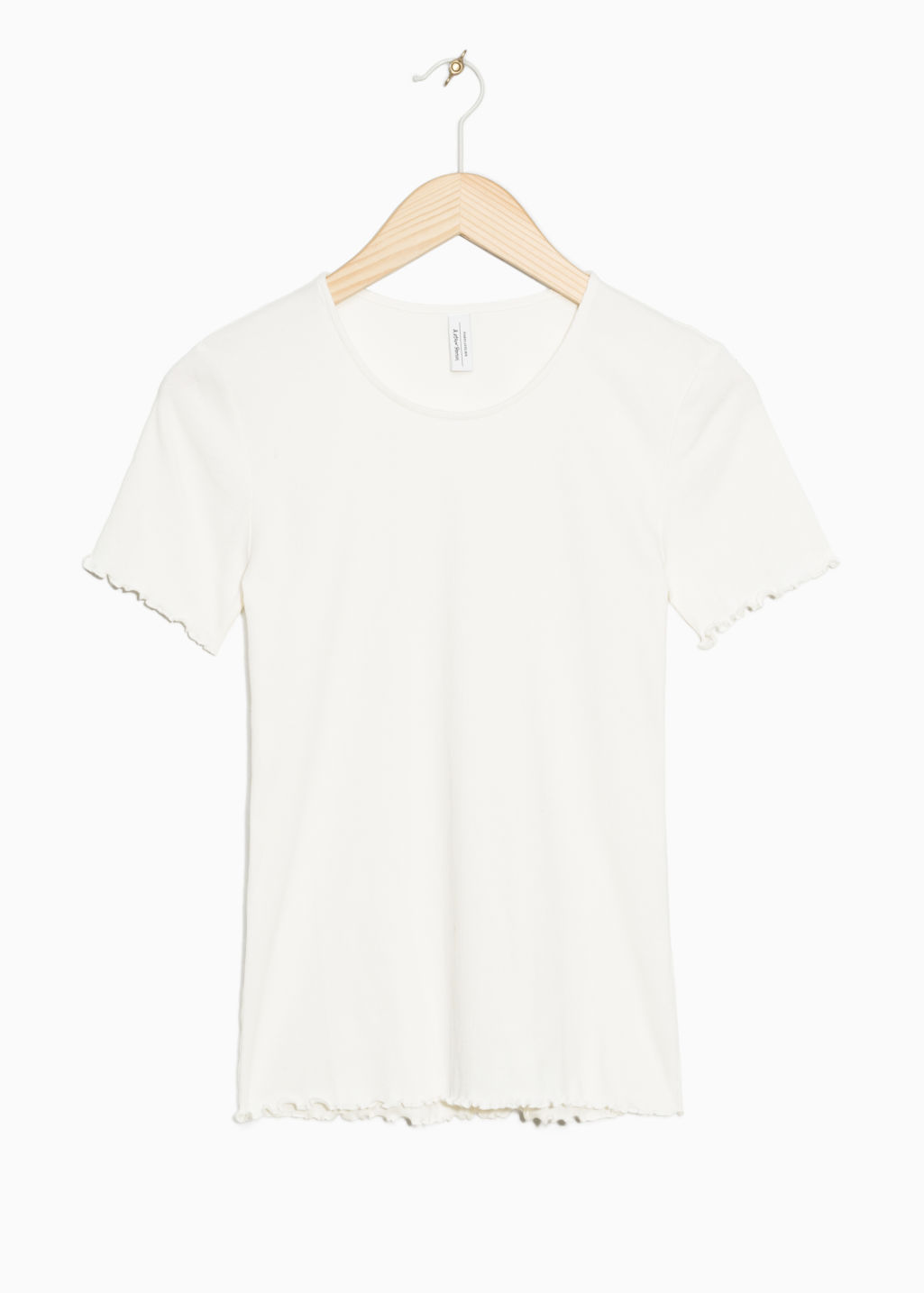 Front image of Stories cotton jersey tee with frills  in white