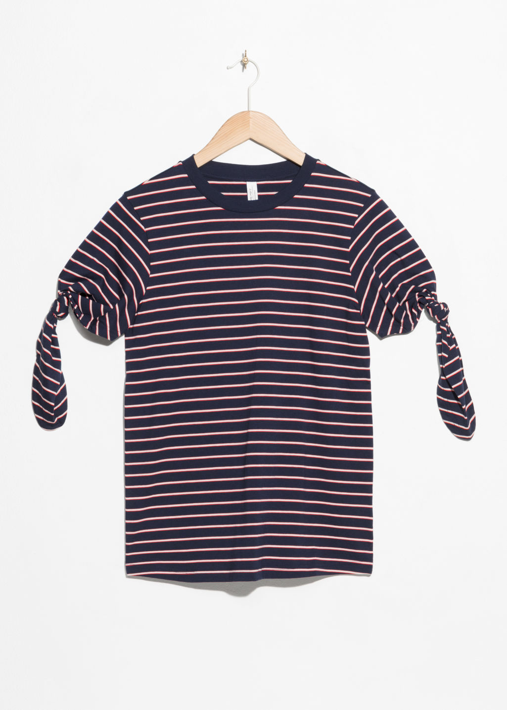 Front image of Stories striped tie t-shirt in blue