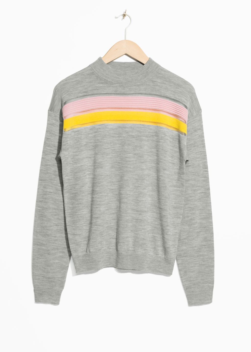 Front image of Stories colour block wool sweater in grey
