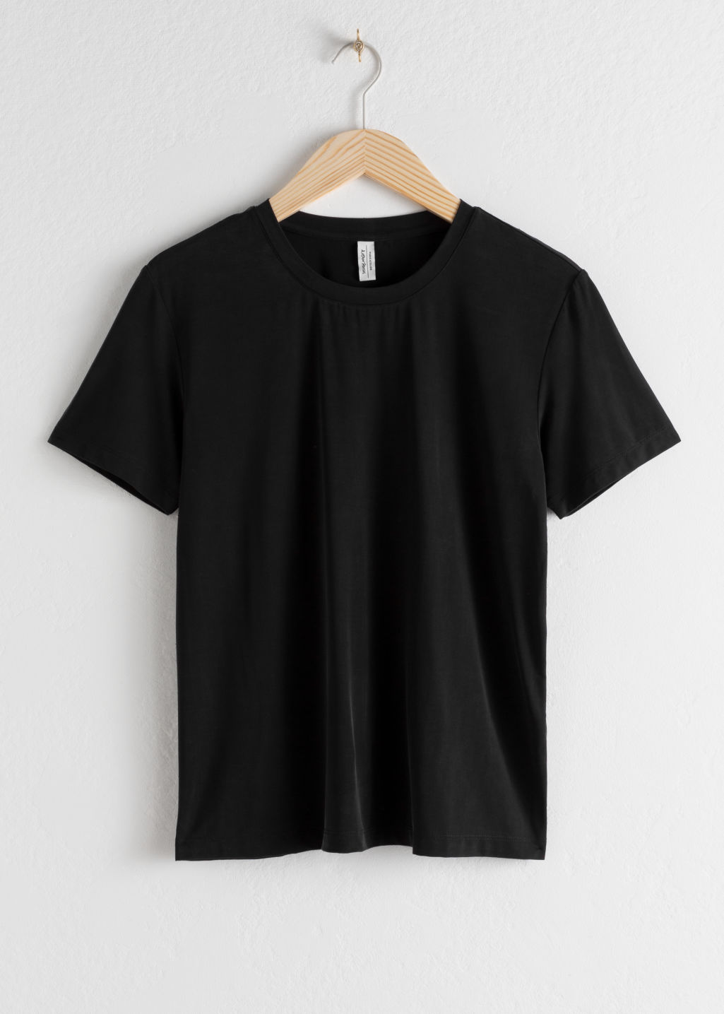 Front image of Stories cupro t-shirt in black