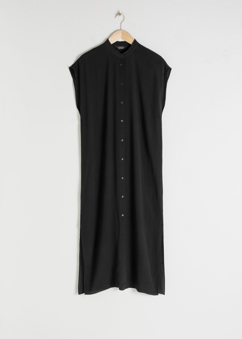 Front image of Stories maxi shirt dress in black
