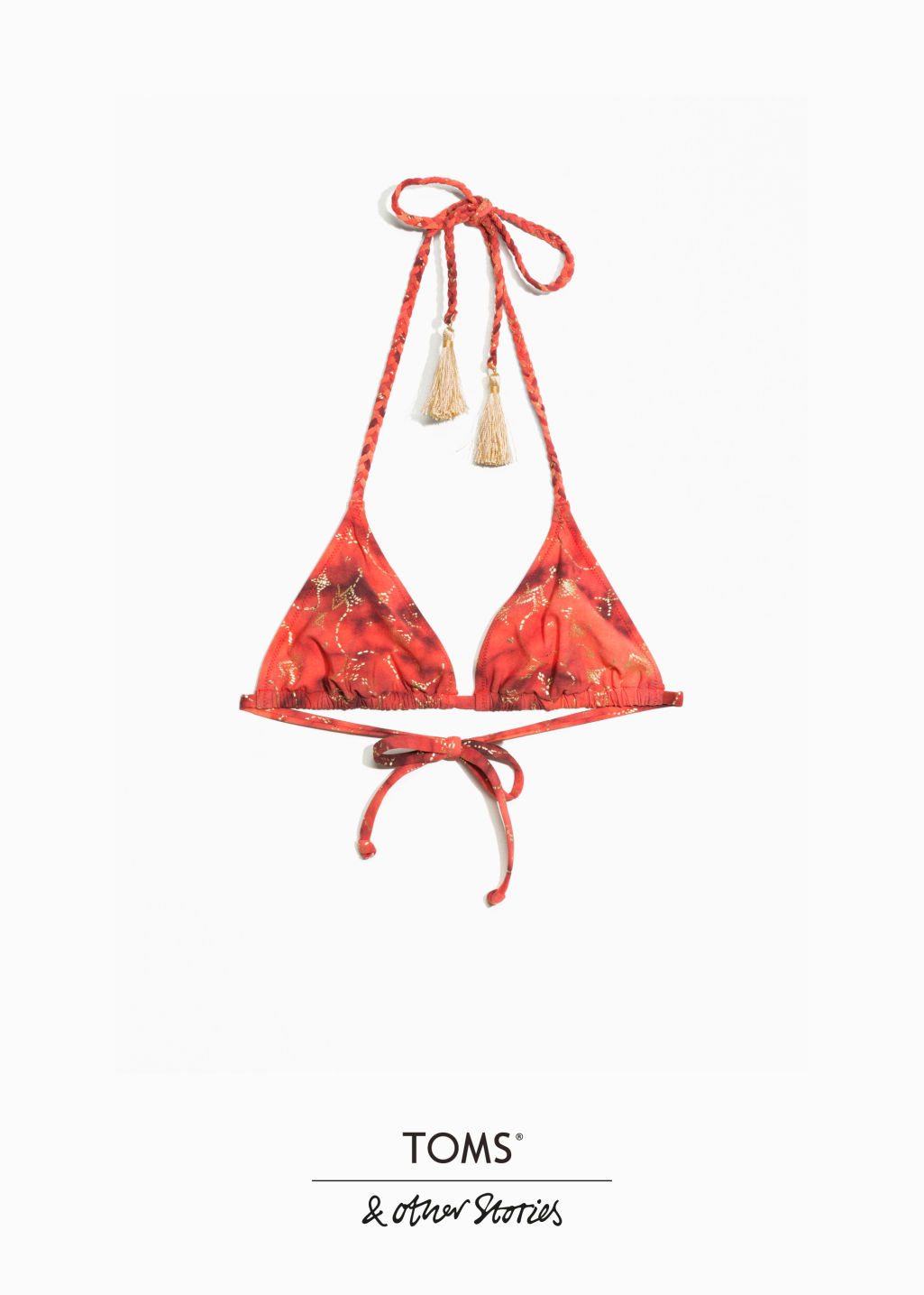 Front image of Stories toms triangle bikini top  in pink