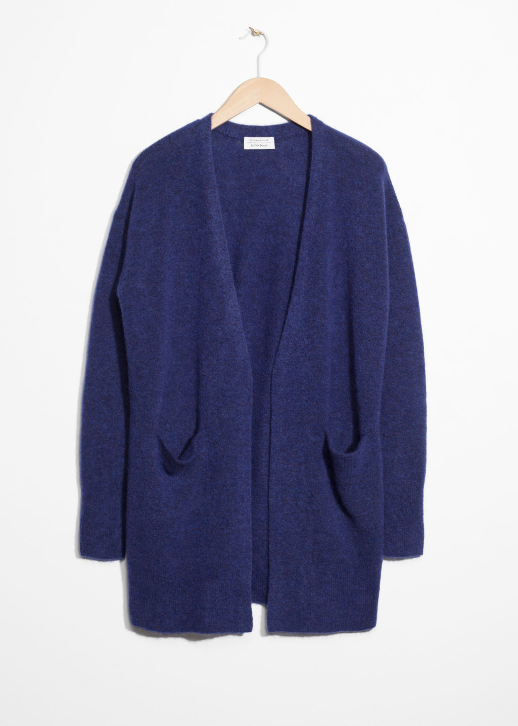 Front image of Stories mohair & wool cardigan  in blue