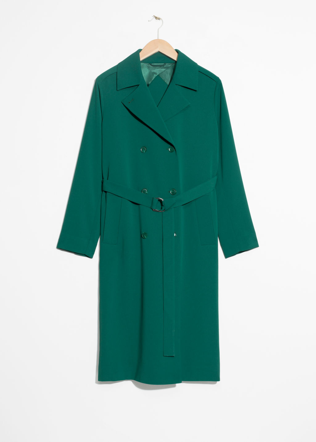 Front image of Stories double breasted trench coat in green