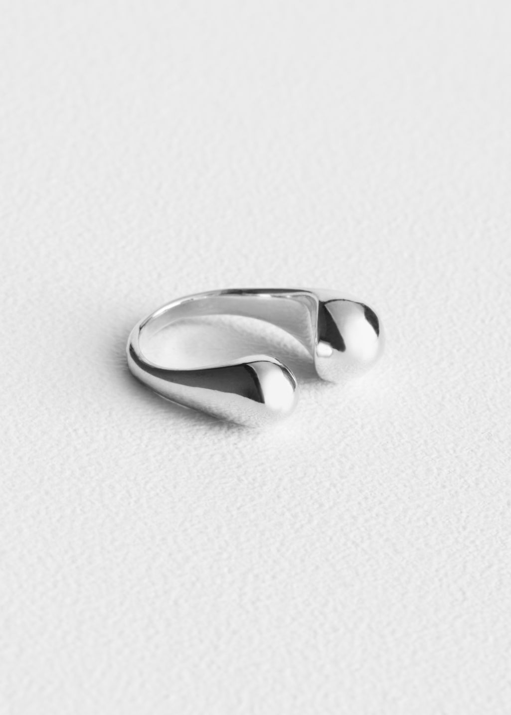 Front image of Stories open ring in silver
