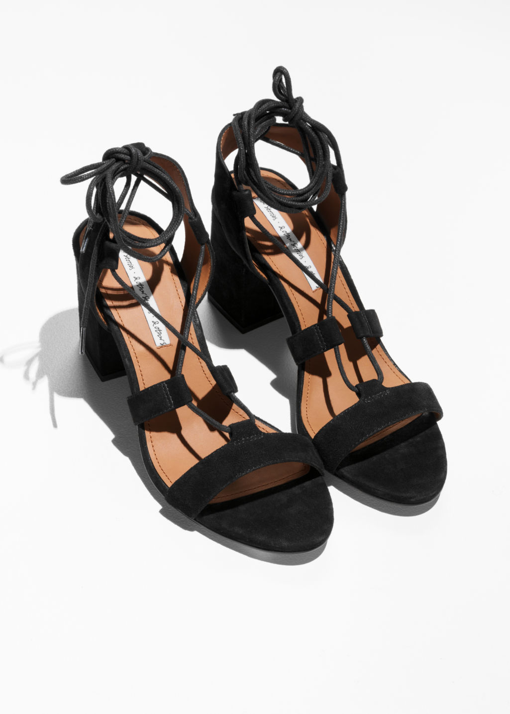Back image of Stories lace-up sandals in black