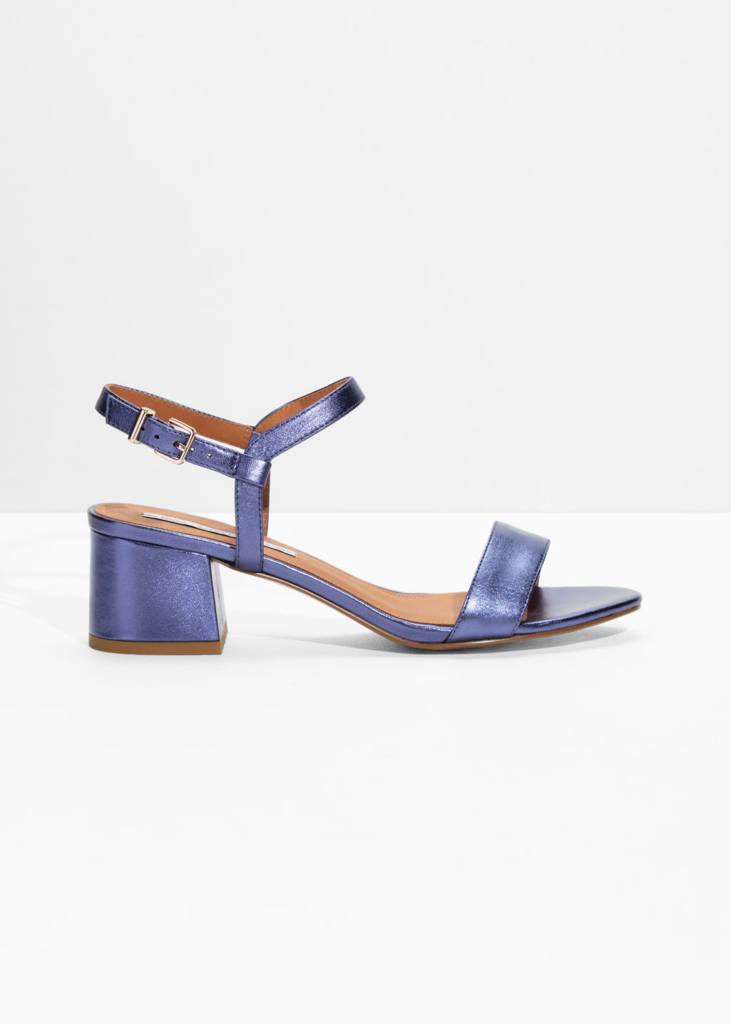 Front image of Stories mid heel sandals in purple