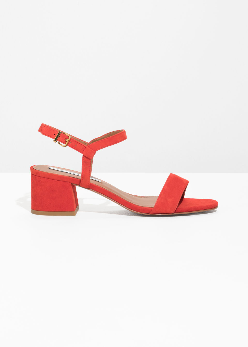 Front image of Stories mid heel sandals in red