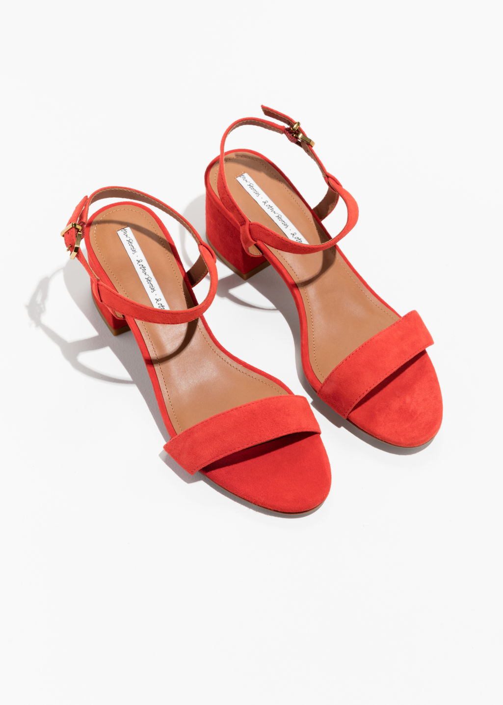 Back image of Stories mid heel sandals in red