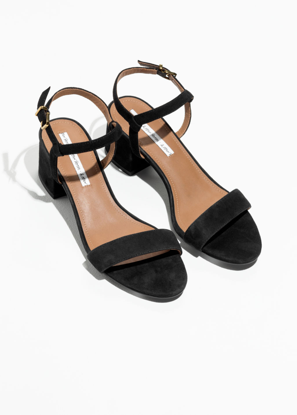 Back image of Stories mid heel sandals in black