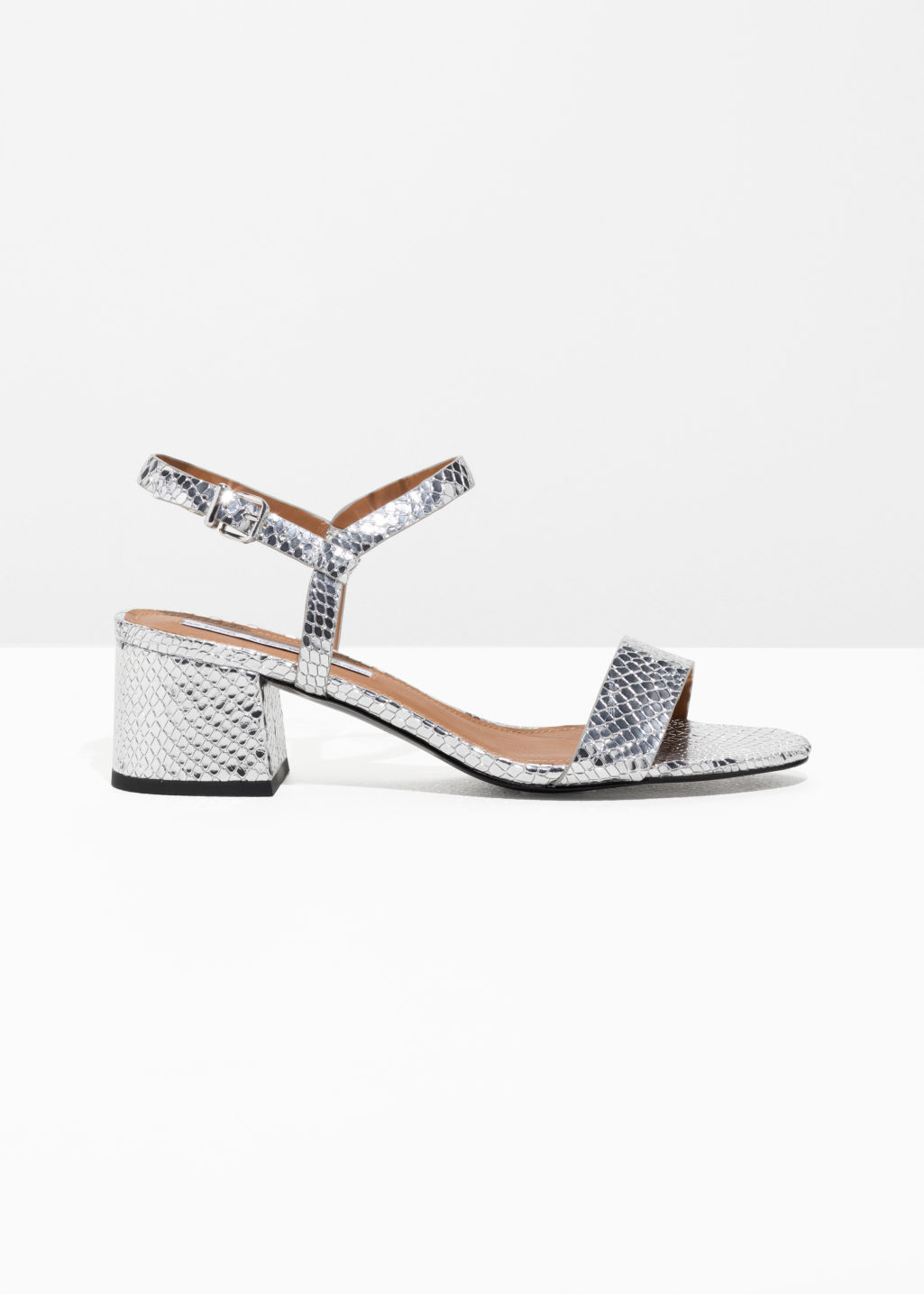 Front image of Stories mid heel sandals in silver