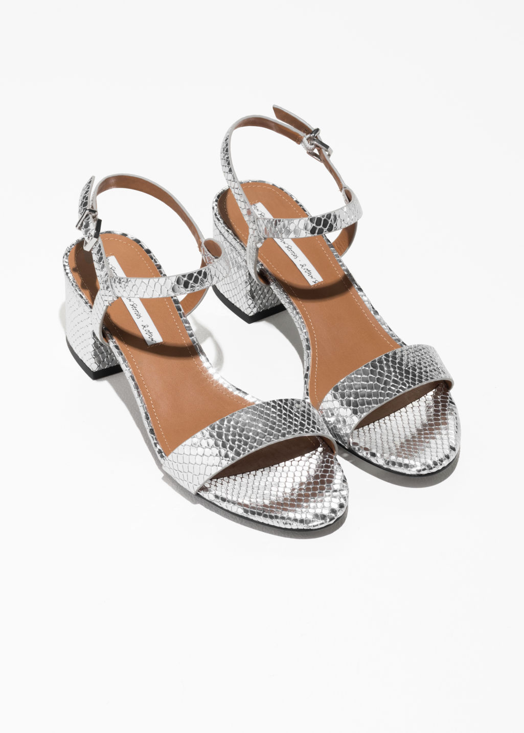 Back image of Stories mid heel sandals in silver