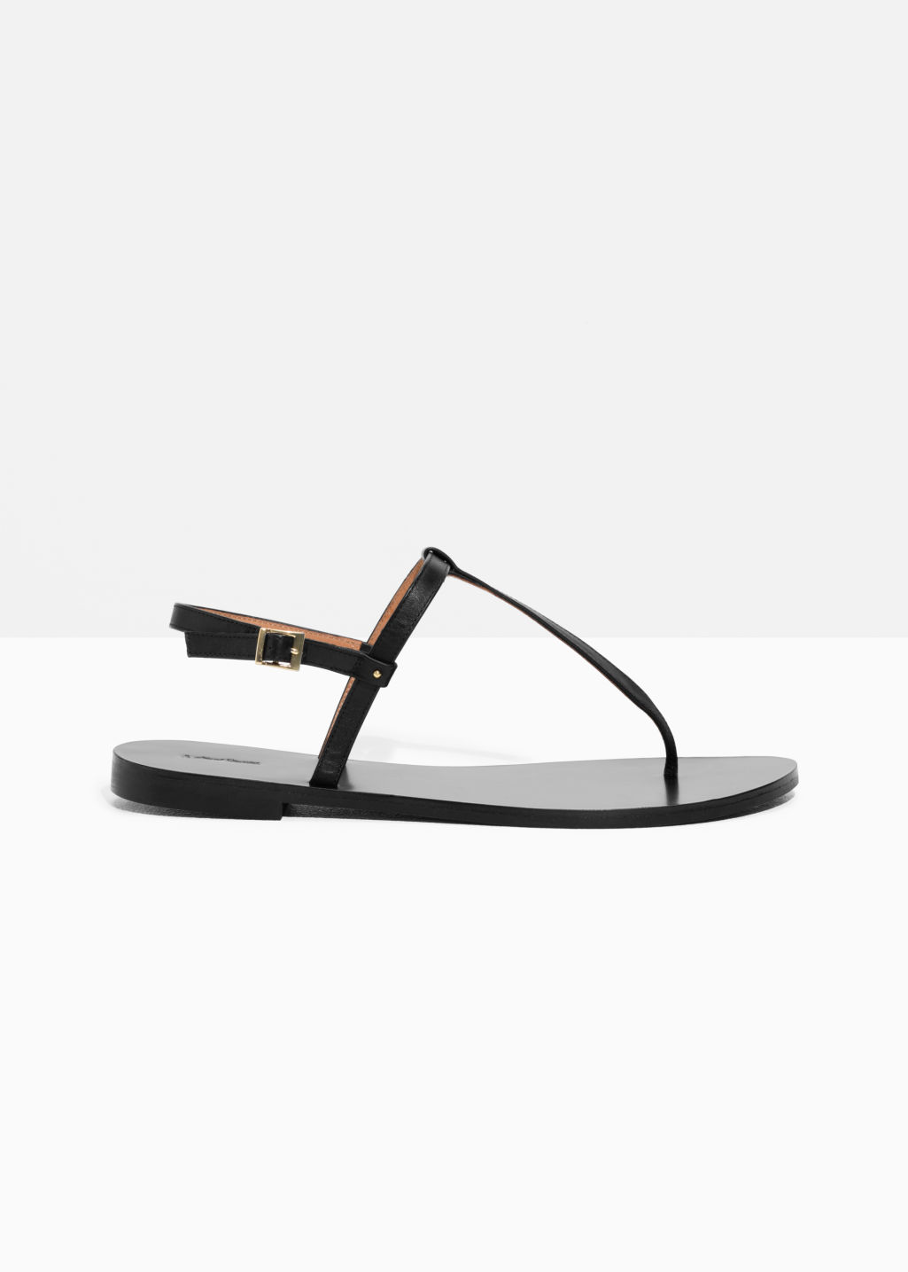 Front image of Stories thin strap toe sandal in black