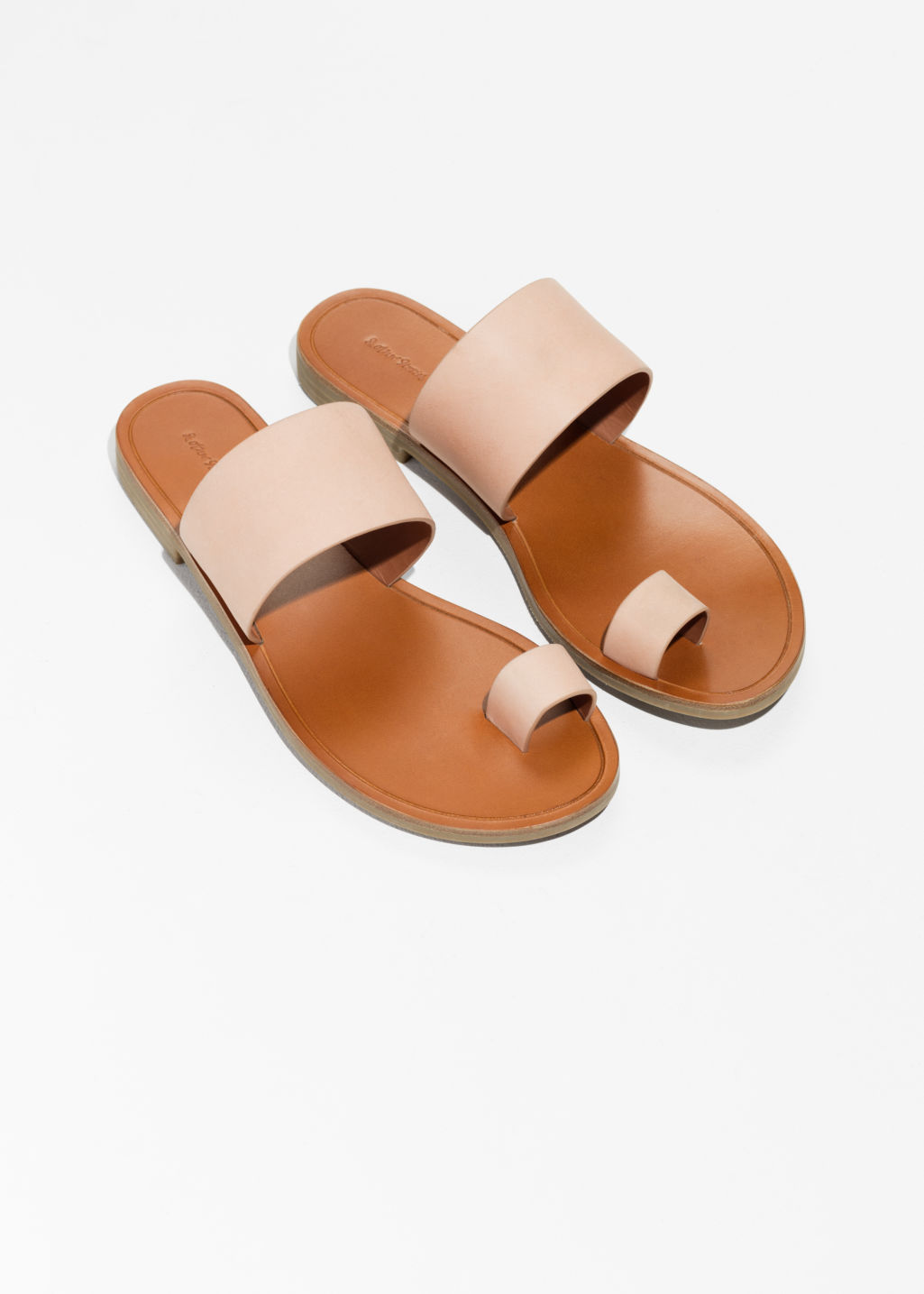 Back image of Stories toe strap sandals in beige
