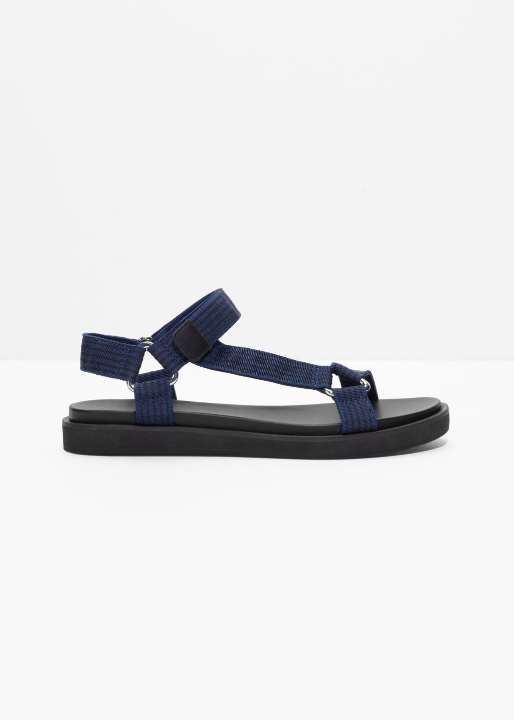 Front image of Stories scratch strap sandals in blue