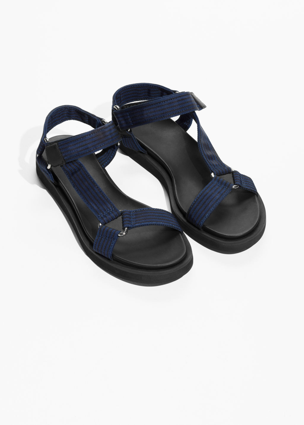 Back image of Stories scratch strap sandals in blue