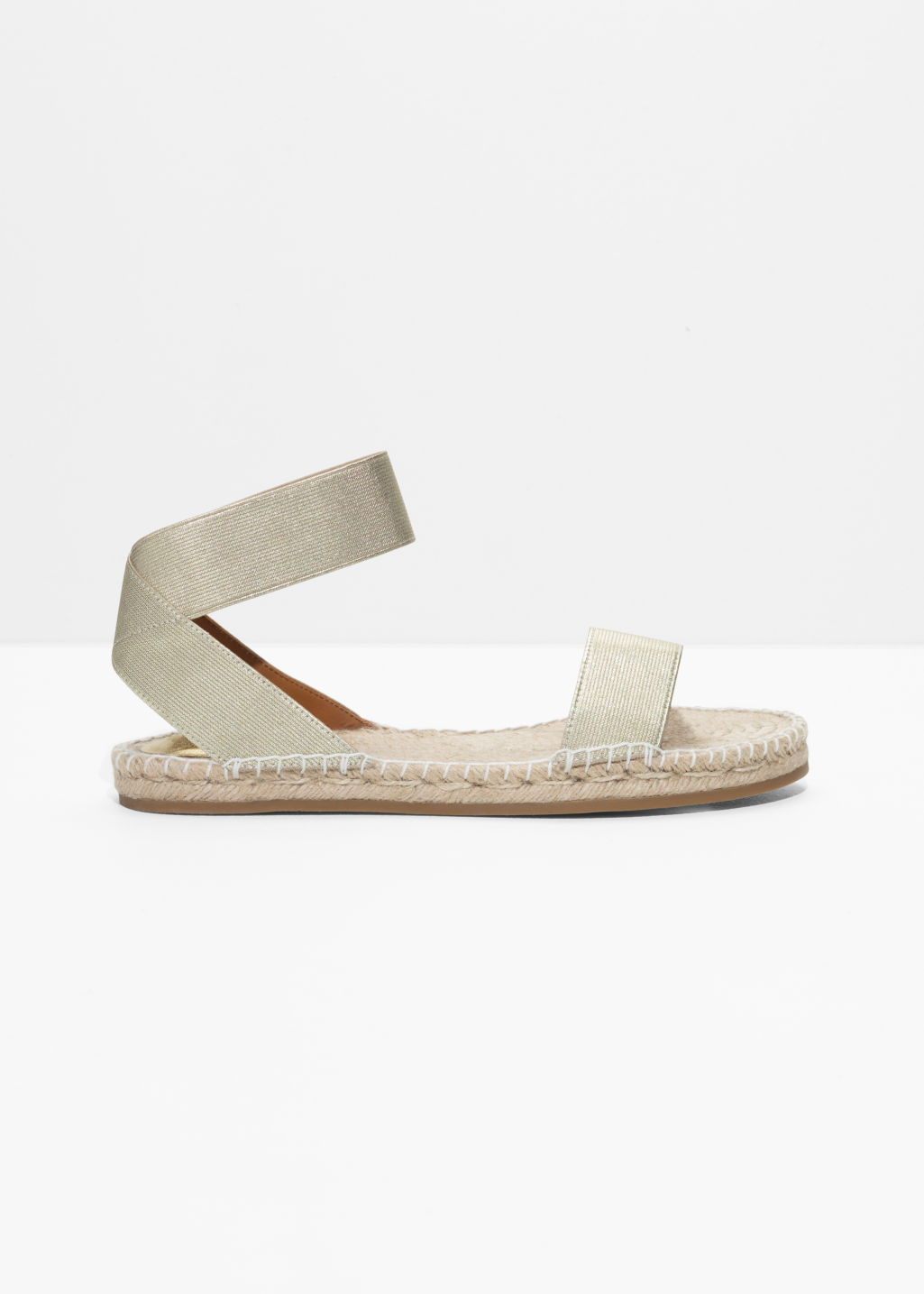 Front image of Stories two-strap sandal in gold