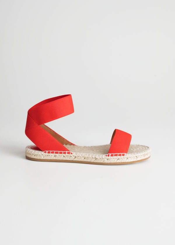 Front image of Stories two-strap sandal in red
