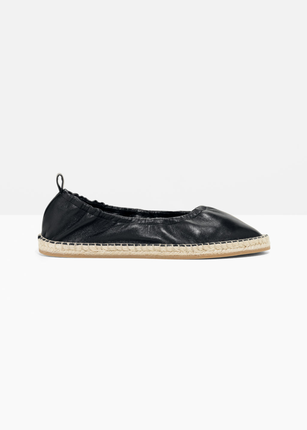 Front image of Stories espadrille ballet flats in black