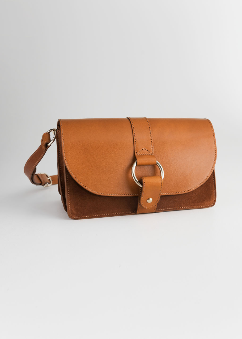 Front image of Stories leather crossover bag  in beige