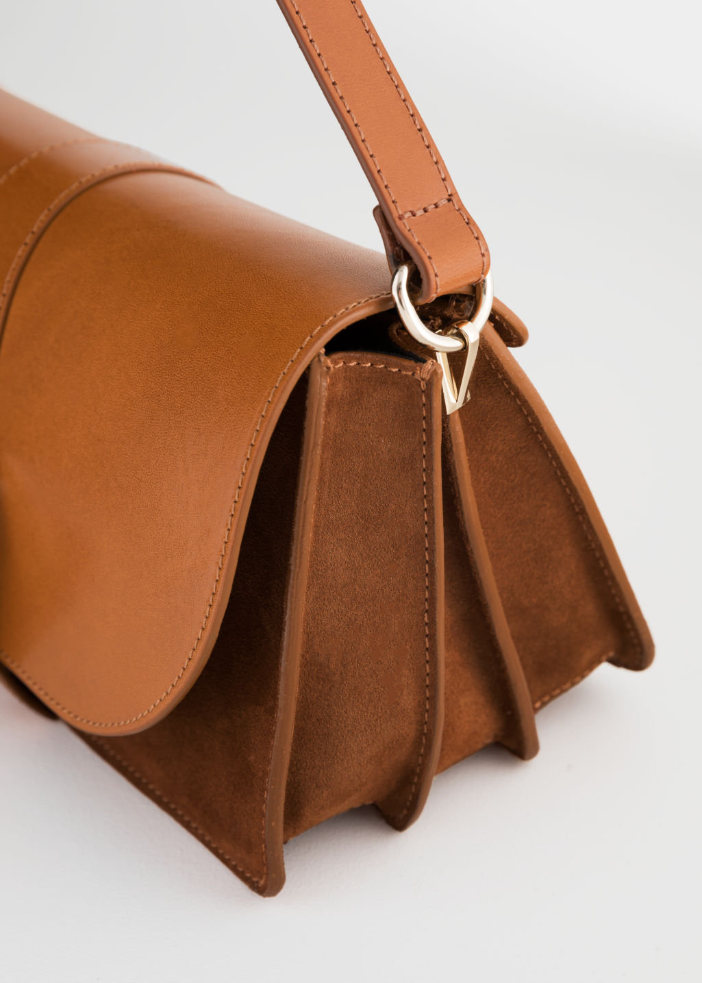 Back image of Stories leather crossover bag  in beige