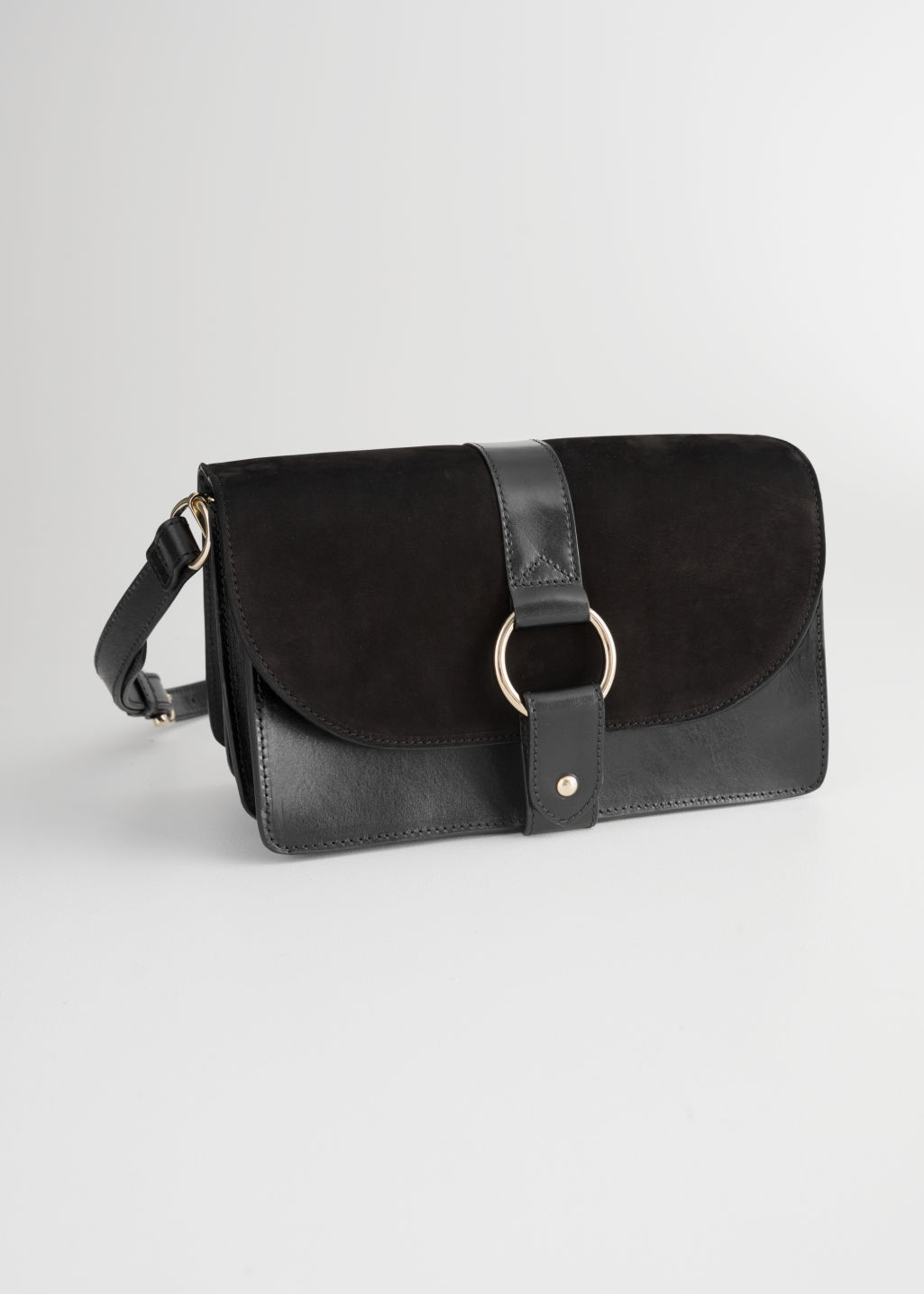 Front image of Stories leather crossover bag  in black