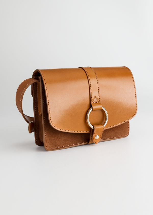 Front image of Stories gold ring leather bag  in beige