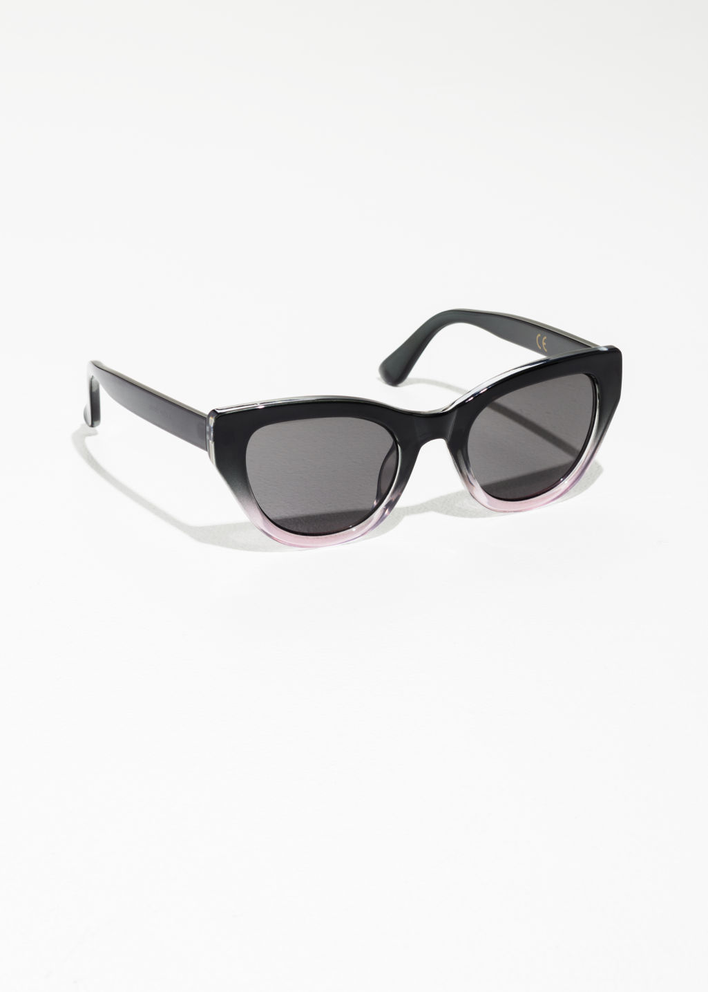 Front image of Stories cat-eye sunglasses in pink