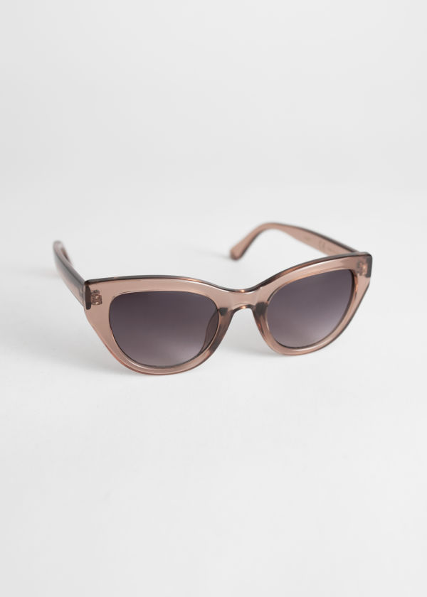 Front image of Stories cat eye sunglasses in purple