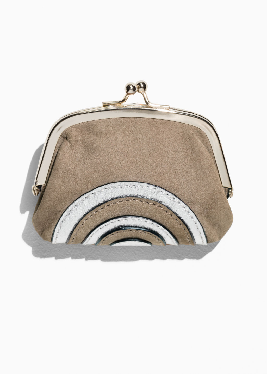 Front image of Stories leather coin purse in beige