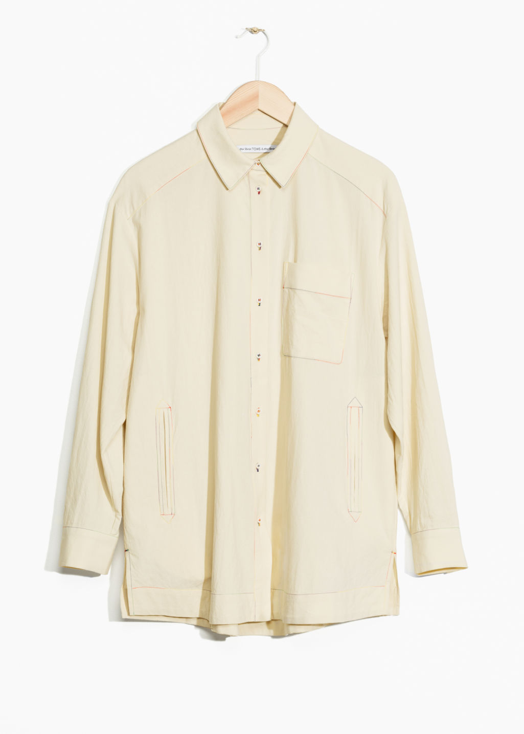 Front image of Stories toms cotton shirt in beige