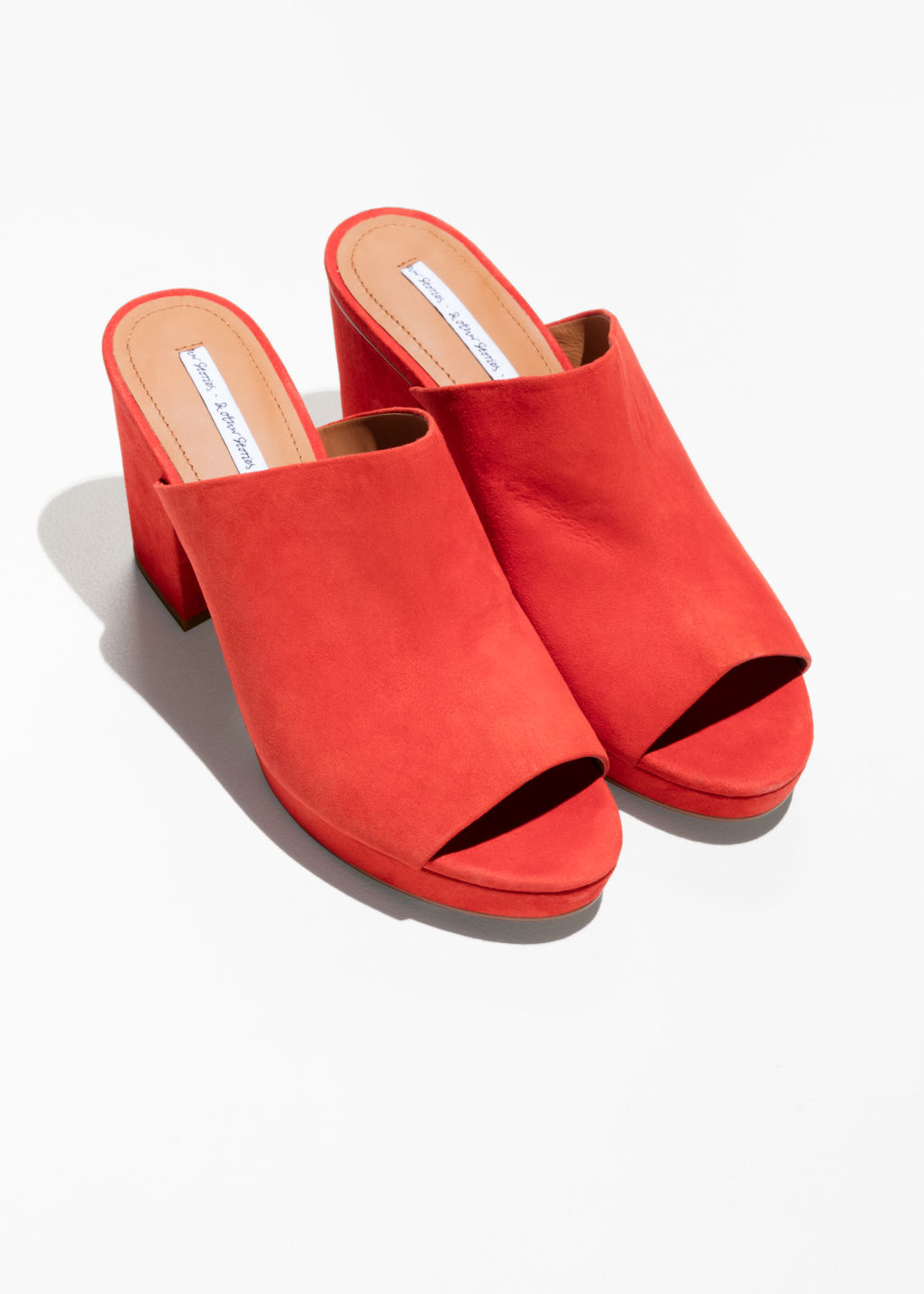 Back image of Stories suede mules in red