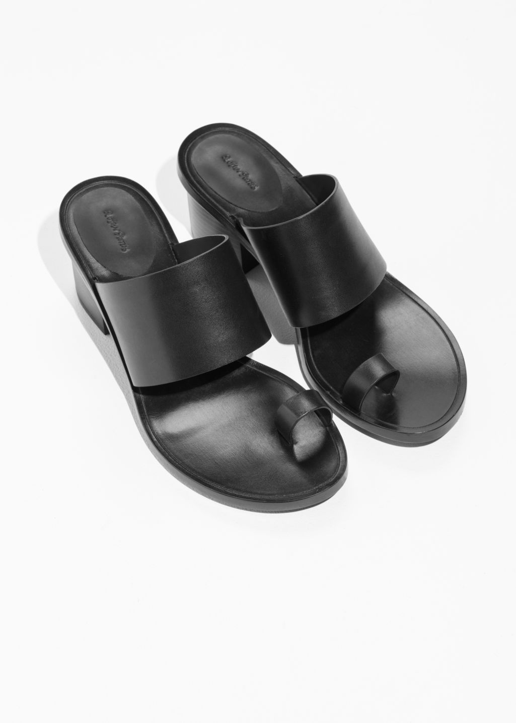 Back image of Stories toe slide sandal in black