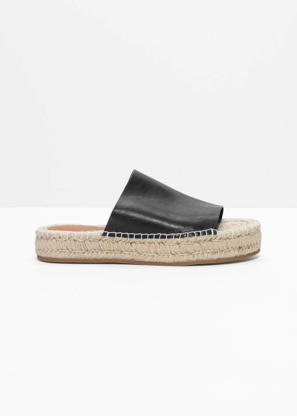 Front image of Stories slipper espadrilles in black