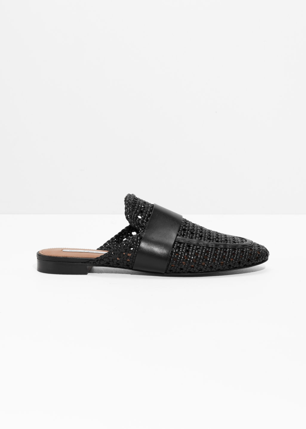 Front image of Stories loafers slippers in black