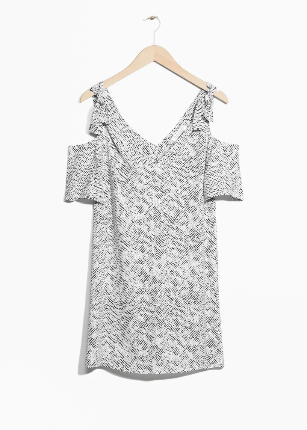 Front image of Stories cold shoulder knotted dress in white