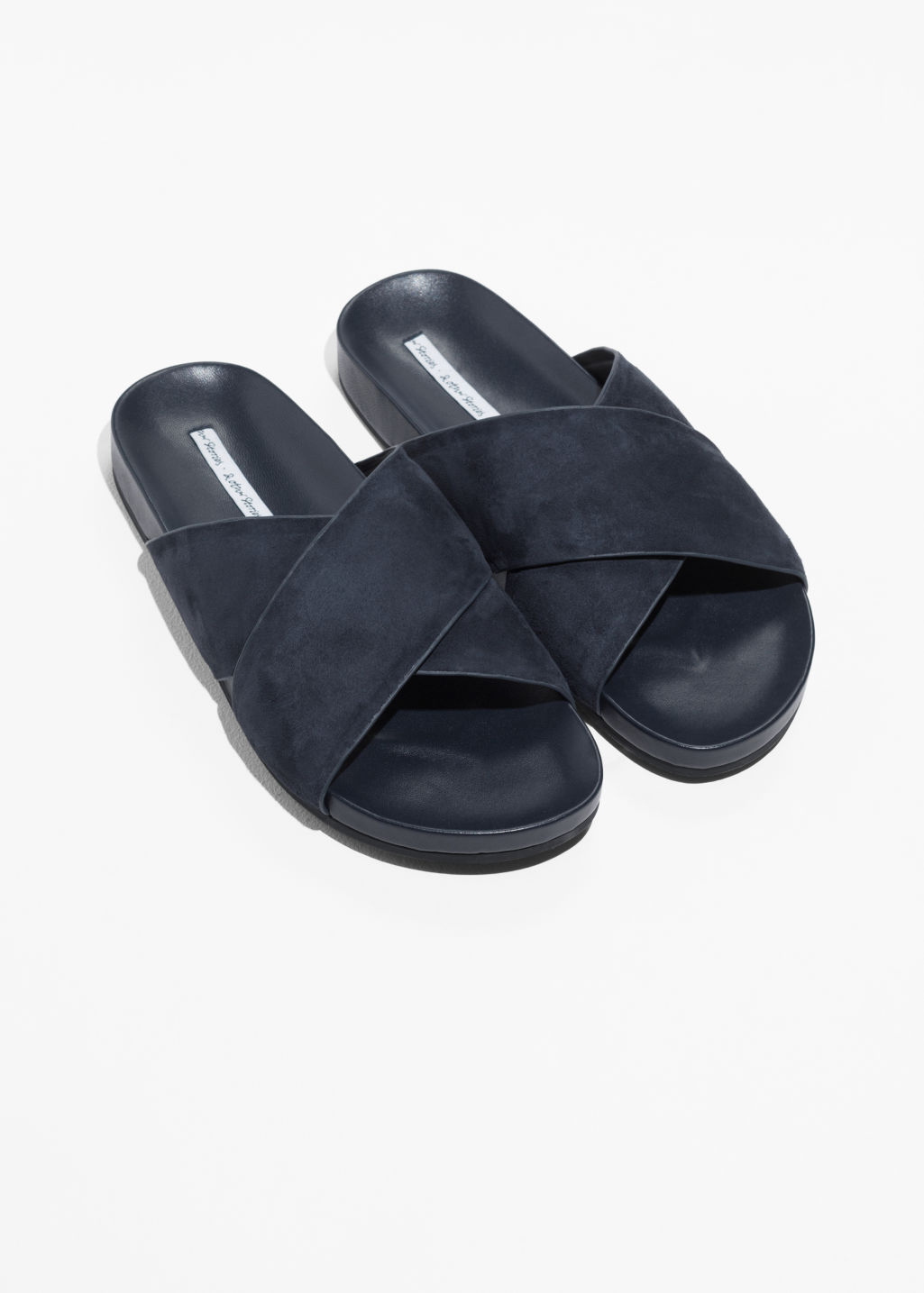 Back image of Stories wide strap suede slides in blue