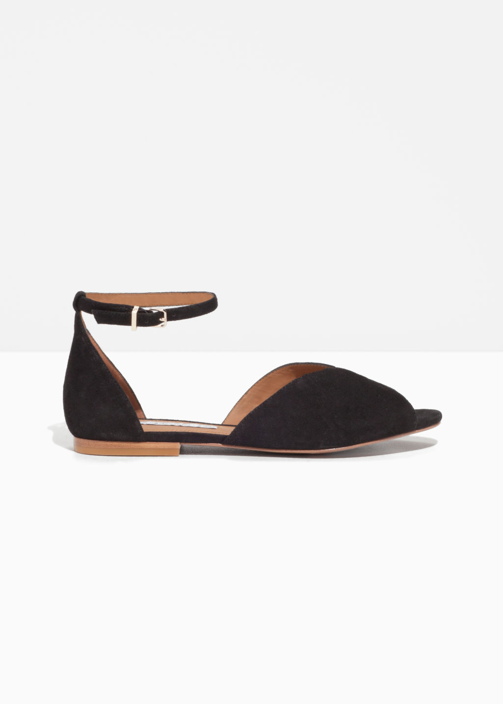 Front image of Stories suede strap sandal in black