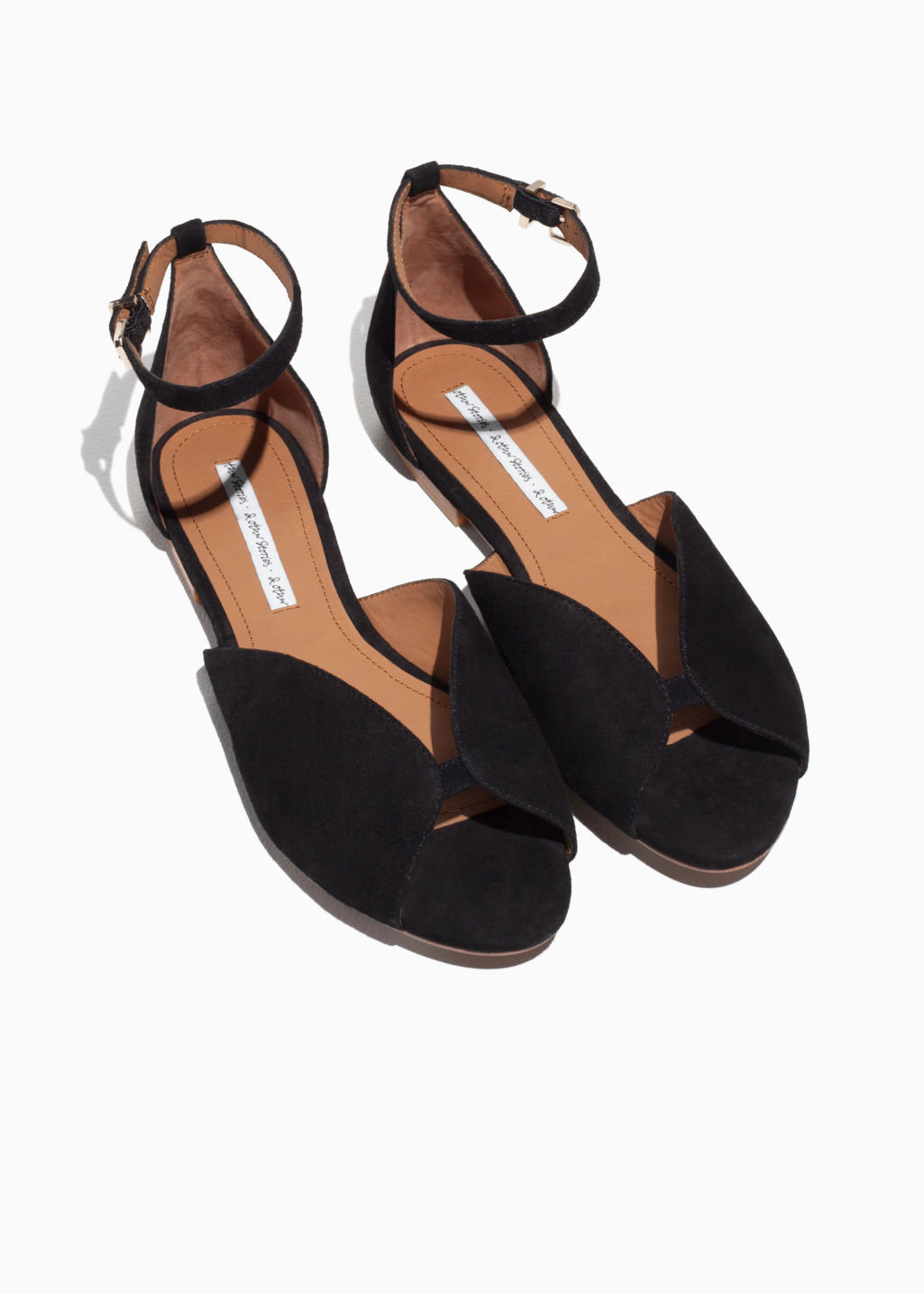 Back image of Stories suede strap sandal in black