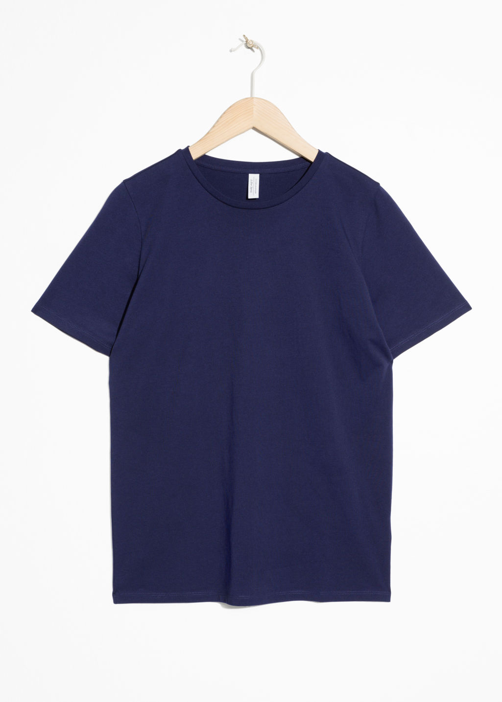 Front image of Stories crewneck organic cotton tee in blue