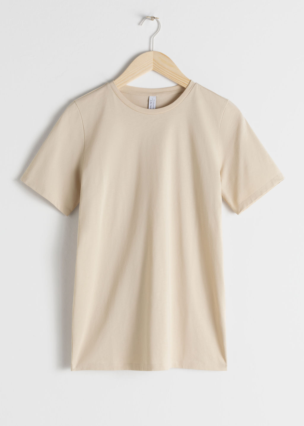 Front image of Stories crewneck organic cotton tee in beige