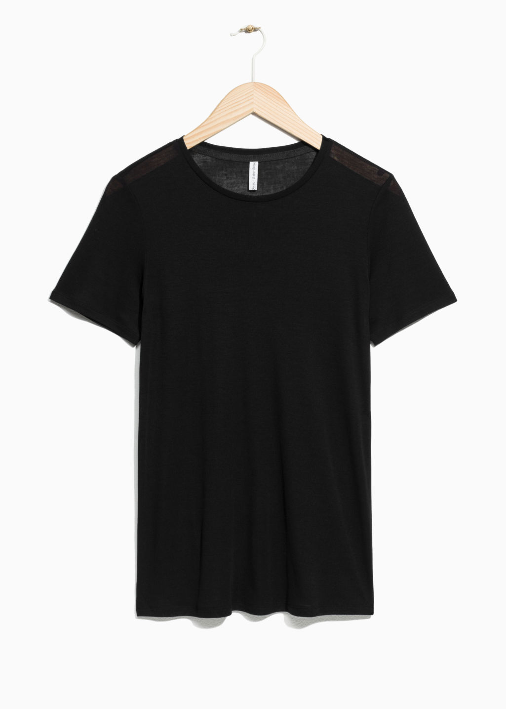 Front image of Stories rib tencel t-shirt in black