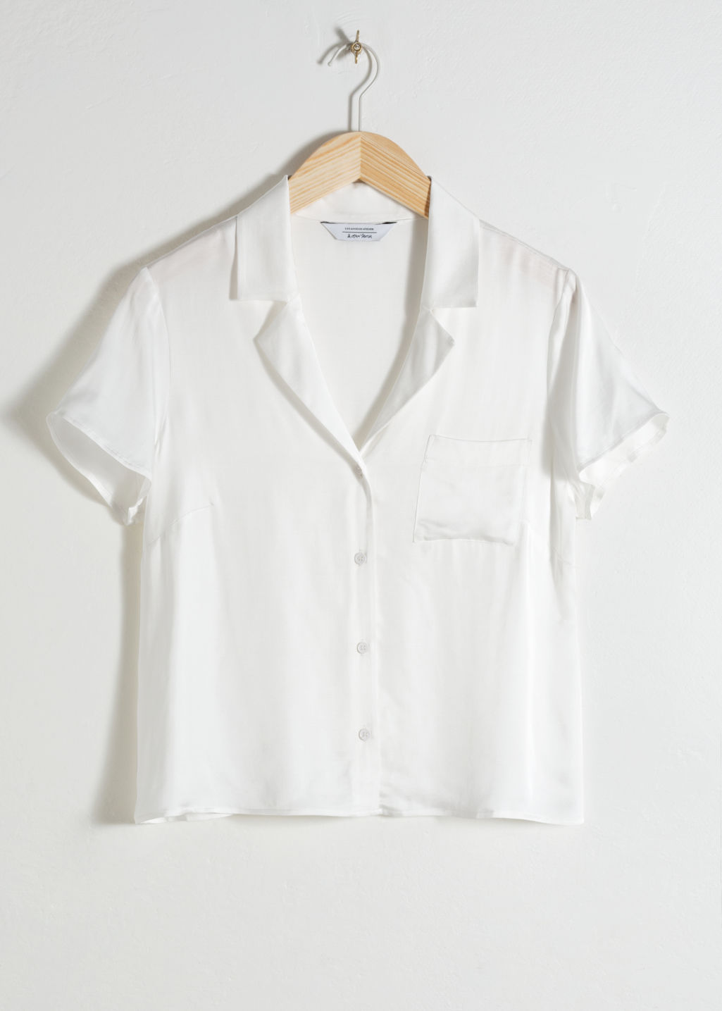 Front image of Stories relaxed fit retro shirt in white