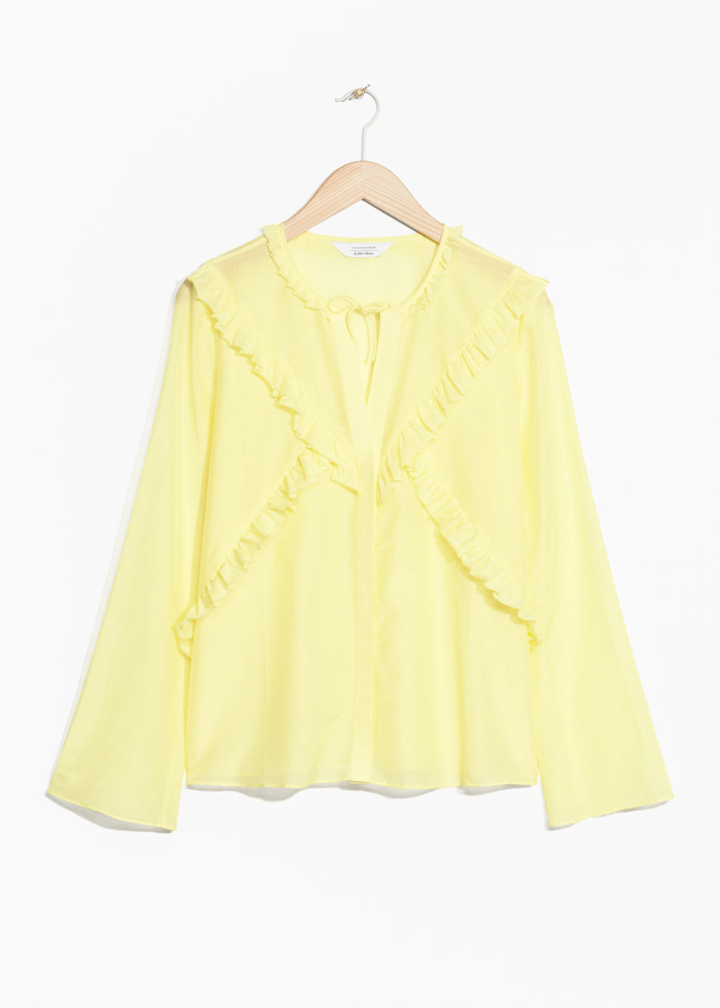 Front image of Stories flare sleeve frills shirt in yellow