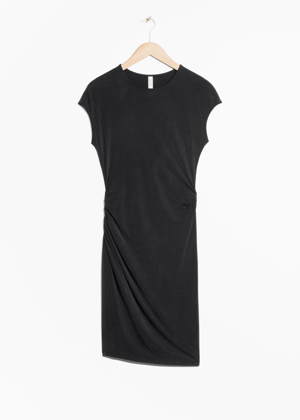Front image of Stories cupro dress in black