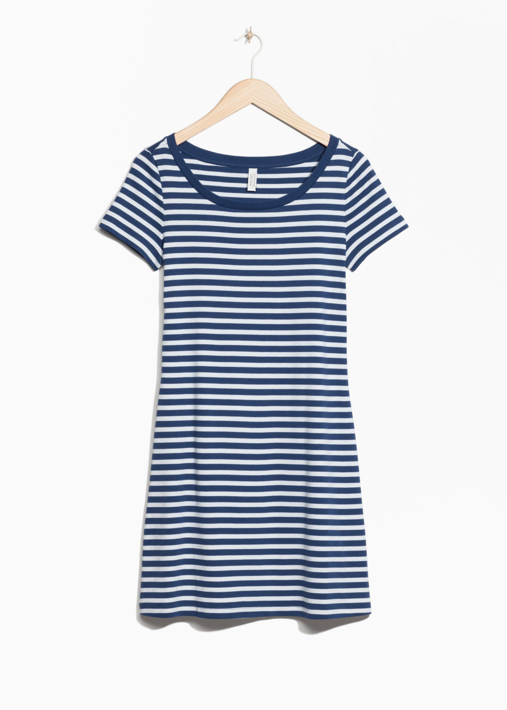 Front image of Stories marine organic cotton dress in blue