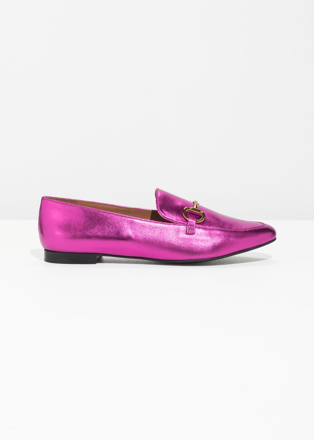 Front image of Stories horsebit buckle loafers in pink